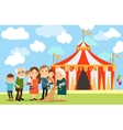 Big family near circus vector image