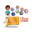 black businesswoman with social media icons vector image