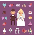 Bride groom wedding set vector image vector image
