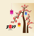 chinese new years lantern decoration for blossom vector image vector image