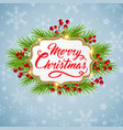 christmas background with fir and golden frame vector image