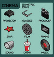 cinema color outline isometric icons vector image vector image