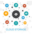 cloud storage trendy web concept with icons vector image