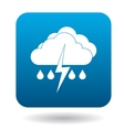 Clouds with lightning and rain drops icon vector image