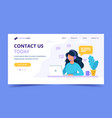 contact us landing page woman with headphones and vector image vector image