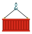 Container lifted by a crane icon flat style vector image