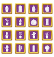 different cactuses icons set purple vector image vector image