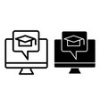 E-learning line and glyph icon monitor and