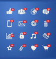 facebook social network web icons set vector image
