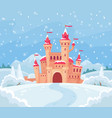 fairy tales winter castle magical snowy landscape vector image vector image