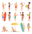 female on beach summer vacation or holidays vector image