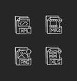 file types chalk white icons set on black vector image