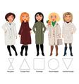 Five Figures clothes coats vector image vector image