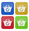 four square color icons shopping basket refresh vector image