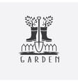 gardening concept with gumbootstree and shovel vector image vector image