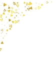 Gold glittering foil triangles on white background vector image