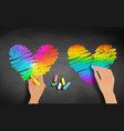 hands drawing rainbow colored hearts vector image vector image