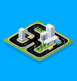 isometric 3d track racing with cars vector image