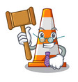 judge on traffic cone against mascot argaet vector image vector image