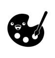 kawaii art palette creative instrument cartoon vector image