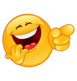 laughing and pointing emoticon vector image vector image