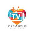 letter tv heart shape logo design vector image vector image
