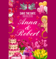 save date invitation on wedding party couple name vector image vector image
