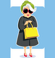 senior fashion lady holding purse vector image vector image