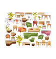 set furniture elements design vector image