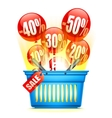 Shopping Basket with Sale Anouncement vector image