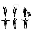 silhouettes businessmen in action vector image vector image