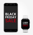 smart phone and smart watch with black friday and vector image