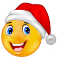 Smiling smiley emoticon in a santa hat vector image