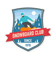 snowboard club patch concept vector image