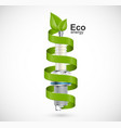 spark plug with a green ribbon eco energy vector image