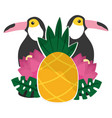 toucan flowers and pineapples tropical summer vector image vector image