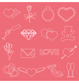 valentines day and love outline icons eps10 vector image vector image