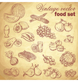 Vintage hand-drawn food set vector image vector image