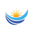 water wave loop sun abstract logo vector image vector image