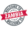 welcome to Zambia red round vintage stamp vector image vector image