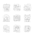 Chemistry science detailed line icons vector image