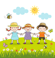 Happy children holding hands on blossom meadow vector image