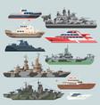 passenger ships and battleships submarine vector image