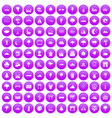 100 view icons set purple vector image vector image