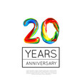 20th anniversary congratulation for company or vector image vector image