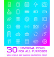 30 Universal Icons Set For All Purposes Web Mobile vector image