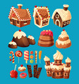 3d cartoon icons of sweets for game design vector image vector image