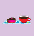 a cup with a hot cocoa drink and a saucer with a vector image vector image