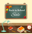 back to school sale concept with school items vector image