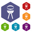 barbecue grill icons set hexagon vector image vector image